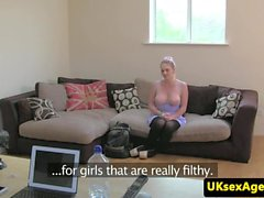 Busty british babe fucked at casting