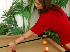 Babe in red Giselle Leon playing pool