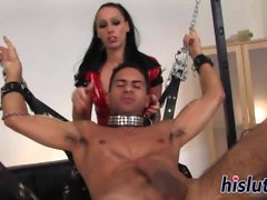 Kinky dungeon session with a raven-haired mistress