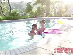 Horny lady Abella in a lesbo pool act
