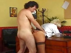 Hot Blonde Mature Fucked in the Office