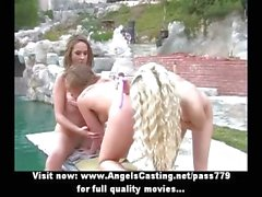 Hot lesbian threesome with girls near pool licking and toying pussy