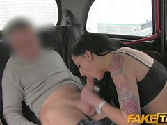 FakeTaxi - Black hair tattooed young British