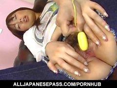 Kaori Natsuno gets vibrators and cock through tight and cut jeans