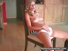 Cute blonde teen Nicole Ray is stripping part5