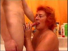 Redheaded Granny Fucked in Bath