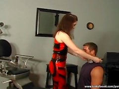 Leashed dude pleases horny brunette