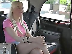 Hot blonde fucked in fake taxi on sunny day