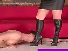 Useless sex slave worships mistress boots