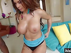 Breasty honey with tattoos riding a bbc