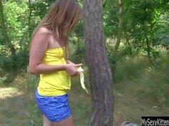 Small titted teen Bella masturbates outdoors