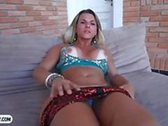 Brazilian shemale babe with tanlines blowjob and butt fucked