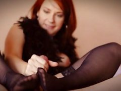 Blowjob with black nylon foot play