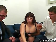 Mature fatty gets nailed by two dicks