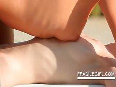 Lesbian outdoor body massage scene