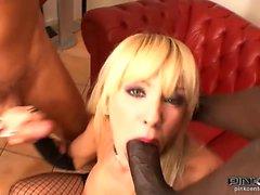 Blonde Italian babe sucks big black cock