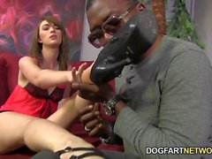 Alana Rains Strokes A Black Cock With Her Feet
