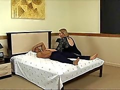 Mature fatty sucks cock and gets fucked in hotel bed