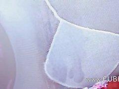 Super hot lingerie and deep dildo inside