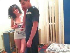 Brunette mother seduce her son