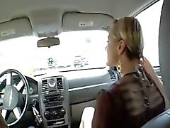 Blonde Belladonna gives him head in the car and bangs him at home
