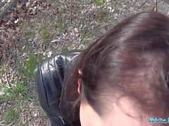 PublicAgent Hot black haired Russian fucked on a car hood