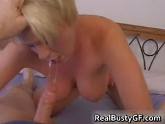 Cute blonde busty gf sloppy blowjob part2