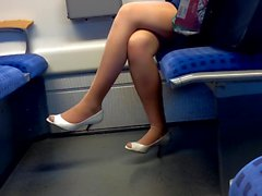 hot nylon legs with peep toe heels in train