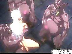 Elfen hentai chick med ett par stora bröst får en bra jävla från en demon