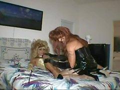 CD slave sucks and gets fucked by tranny mistress