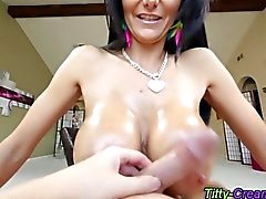 Nasty big boobs slut gets titfucked
