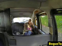 Busty deepthroater sprayed with cabbie cum