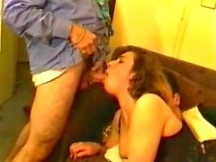 French blonde gets cum on stockings