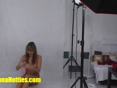 Banana casting photoshoot with cute teen