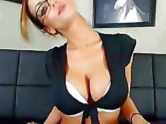 Hot Secretary Really Wants The Job On Webcam
