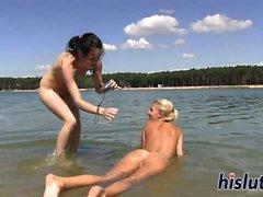 Two horny sluts pleasure their wet cunts