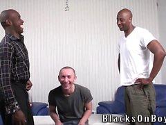 Buffo ragazzo di lucidatura ottiene inculare da uomini neri
