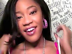 Teen black beauty goes naughty in a public restroom