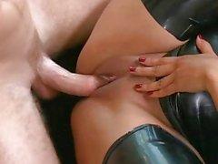 Busty brunette babe Kiara Mia get a dick on a sofa