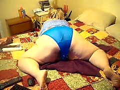 wigling in blue panties