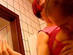 Redhead girl pounded hard in the toilet room