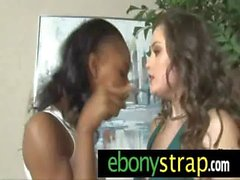 Strapon lesbian pussy interracial sex 8