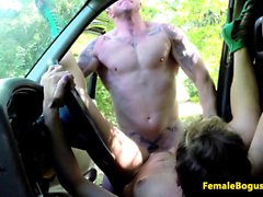 British lady taxi driver railed outdoors