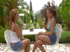 Sapphicerotica Zara and Salome blonde and redhead lesbian teens eating a banana and kissing