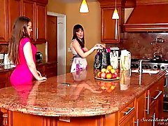 Busty lezzies Dana Dearmond and Dani Daniels play with strapon