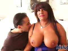 Curvaceous housewife rides on a stiff manhood