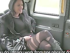 British escort fucking in a fake taxi