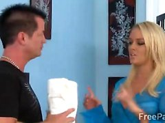 Gorgeous blonde therapist makes client horny as hell