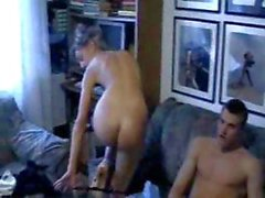 Blonde Serbian babe bends over and sits on his cock while he pounds her