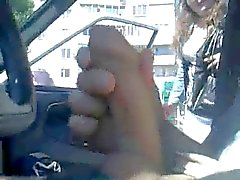 Russian Woman touch for a ride